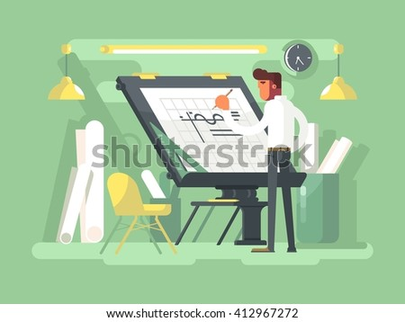 Engineer project draws - stock vector