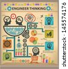 Engineer thinking information graphics design,vector - stock vector