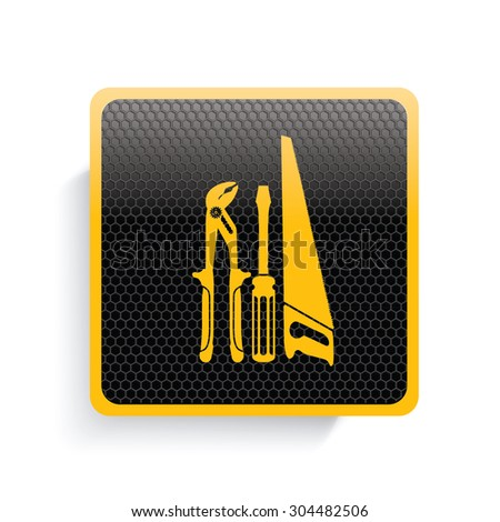Engineer tool icon design,yellow version,clean vector - stock vector