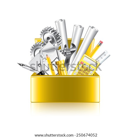 Engineer tools box isolated on white photo-realistic vector illustration - stock vector