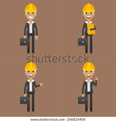 Engineer woman with briefcase in different poses - stock vector