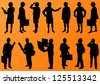 Engineer women and men people detailed construction site worker silhouettes illustration collection background vector - stock photo
