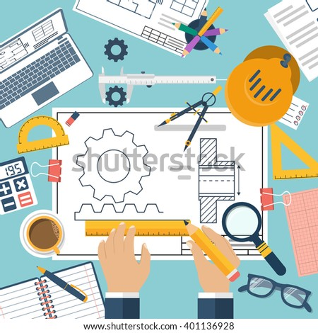 Engineer working on blueprint drawing technical vectores en stock engineer working on blueprint drawing technical scheme sketching gear project designer malvernweather Image collections