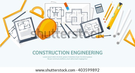 Engineering and architecture design.Flat style.Technical drawing,mechanical engineering.Building construction,trends in design or architecture.Engineering workplace with tools.Industrial architecture. - stock vector