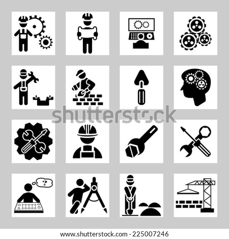 Engineering and construction vector icons set - stock vector