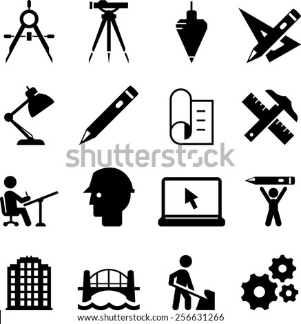 Engineering And Drafting Icons Vector For Digital Print
