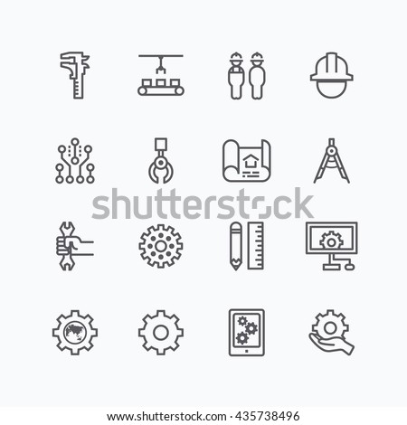 Engineering and manufacture silhouette icons set flat thin line design vector - stock vector