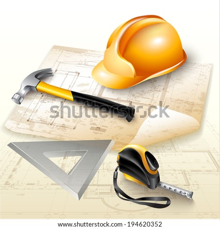 Engineering background with technical drawings and tools: hammer, measure tape (roulette), triangle and safety helmet - stock vector