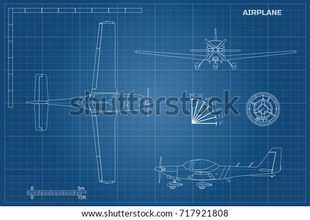 Engineering blueprint plane fast sport airplane stock vector engineering blueprint of plane fast sport airplane view top side and front industrial malvernweather Choice Image