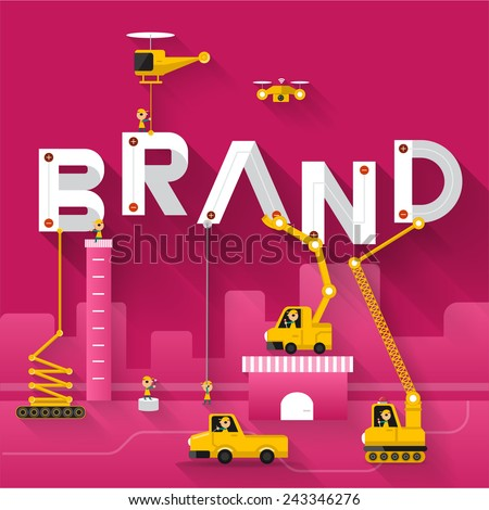 Engineering building text Brand. Vector Illustrate - stock vector