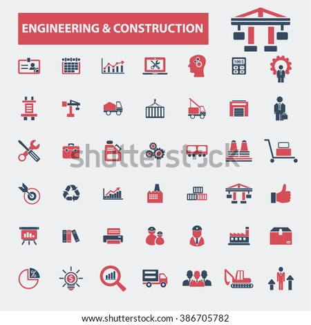 engineering construction icons  - stock vector