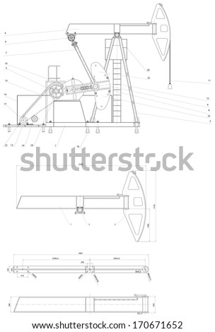 Engineering drawing of the pumping unit. Vector format - stock vector