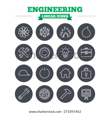 Engineering linear icons set. Ventilation, heat and air conditioning symbols. Water supply, repair service and circuit board thin outline signs. Lamp, house and locker. Flat circle vector - stock vector