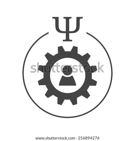 Engineering or industrial psychology logo. Person sign inside gear wheel in a circle with psi letter - stock vector