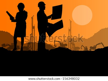 Engineers with excavator loaders and tractors digging at industrial construction site vector background illustration - stock vector