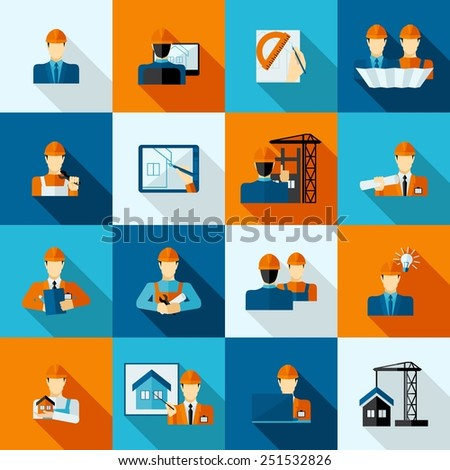 Engineers with tools drafts and equipment icons flat set isolated vector illustration - stock vector