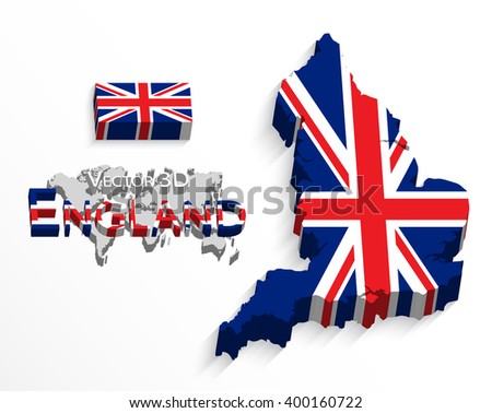 England 3D ( flag and map ) ( United Kingdom of Great Britain ) ( combine flag and map ) - stock vector