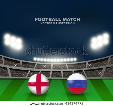 England flag and Russia flag on soccer ball on soccer stadium background , this design for soccer match of group B between England and Russia in France 2016  - stock vector