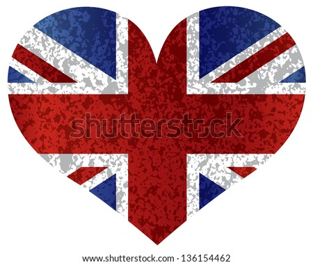 England Great Britain Union Jack Flag Heat Shape with Texture Vector Illustration