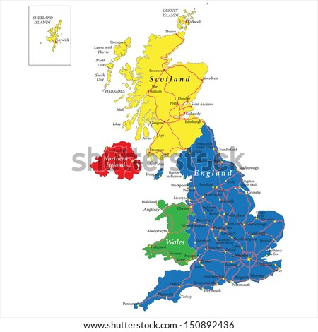 England,Scotland,Wales and North Ireland map - stock vector