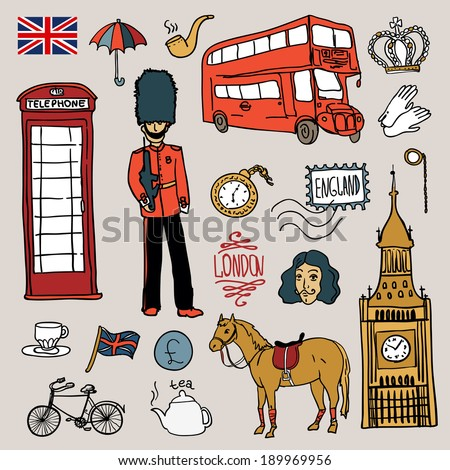 England set, vector illustration hand drawn - stock vector