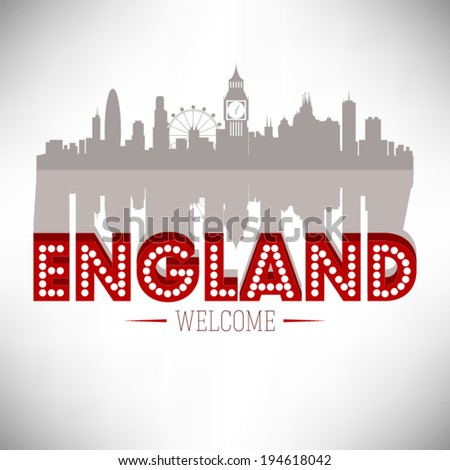 England skyline silhouette design, vector illustration. - stock vector