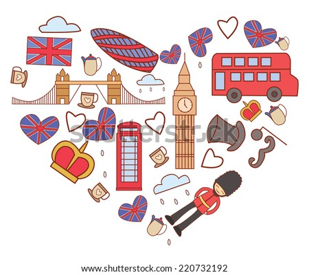 England Tourism Love Banner - stock vector