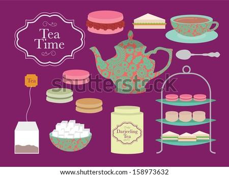 english afternoon tea vector/illustration - stock vector