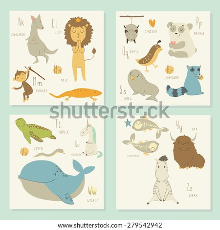 English alphabet for children. K,l, m, o, p, q, r, s, t, u, v, w, x, y, z letters. Bright isolated illustration of cute animals.  Learn English - stock vector