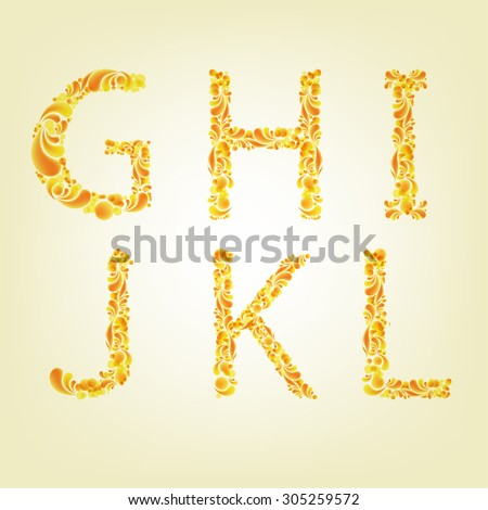 English alphabet from yellow pattern G, H, I, J, K, L - stock vector