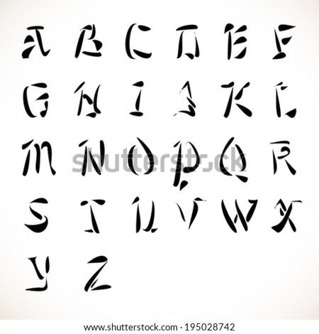 English Alphabet In Calligraphic Type Font