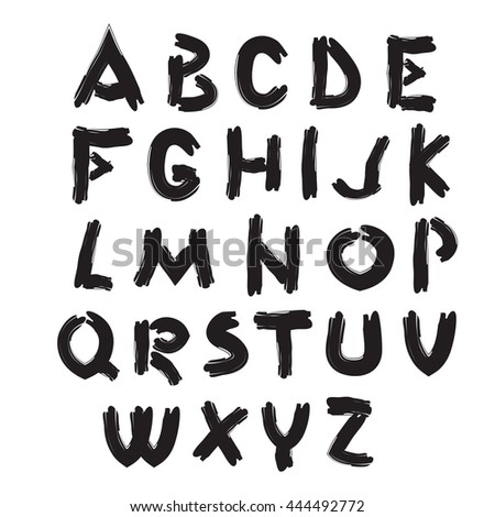 english alphabet original painted style vector illustration