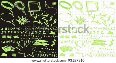 English Alphabet with hand drawn speech - stock vector