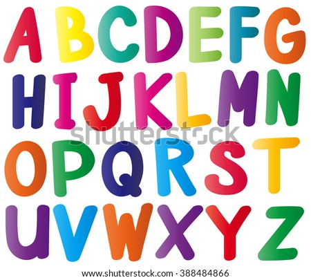 English alphabets in many colors illustration
