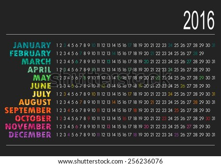 English calendar for year 2016, vector illustration