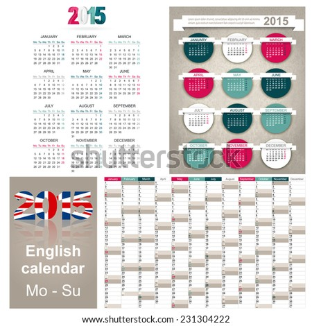 English calendar for year 2015, week starts on Monday - stock vector