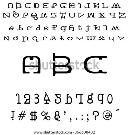 English font set. Alphabet, numbers and symbols. Font type. Latin alphabet font type.