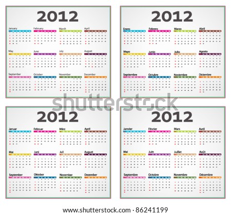 English, french spanish and german calendar for 2012 - stock vector
