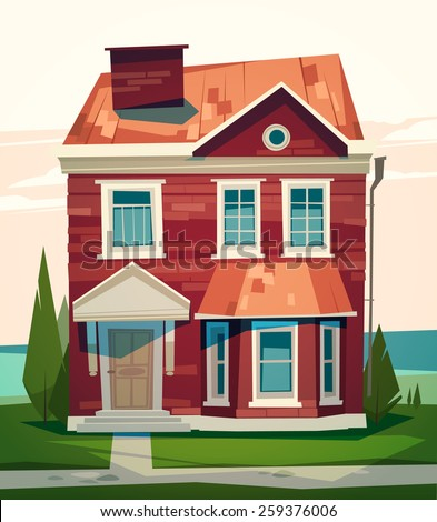 English house facade. Vector illustration. - stock vector