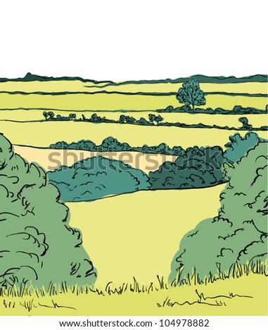 english landscape illustration - stock vector