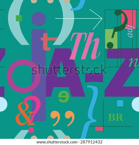English  language. Letters and symbols. Seamless vector pattern - stock vector