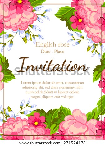 Flower Wedding Invitation Card Save Date Stock Vector 296221628 ...