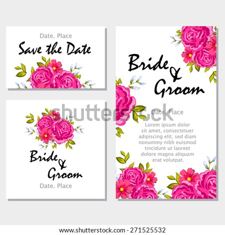 English rose wedding invitation cards floral stock vector 271525532 wedding invitation cards with floral elements flower vector background stopboris Images