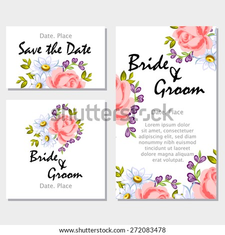 English rose wedding invitation cards floral stock vector royalty wedding invitation cards with floral elements flower vector background stopboris Image collections