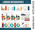 English weather culture traditions for travelers and statistic on london landmarks visitors infographic poster flat abstract vector illustration  - stock vector