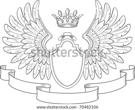 Engraved heraldry symbol for luxury design - stock vector