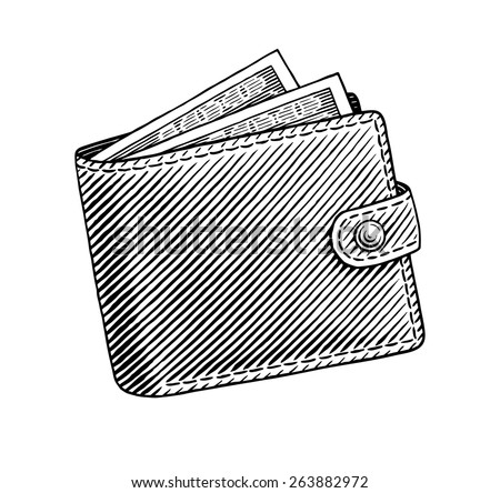 Engraved illustration of wallet full of dollars - stock vector