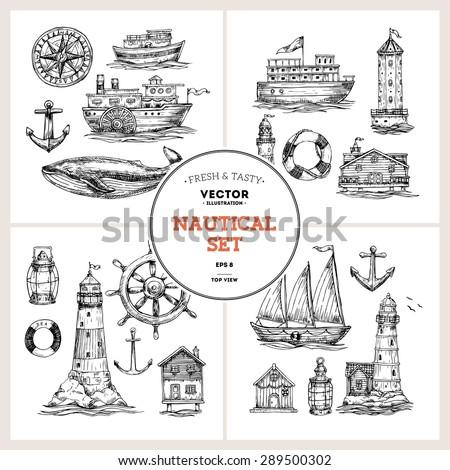 Engraved nautical elements. Sea theme. Vector illustration - stock vector