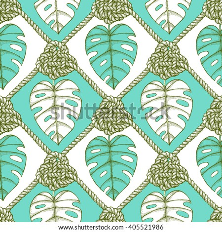 Engraved palm leaves and rope  in vintage style, vector seamless pattern - stock vector