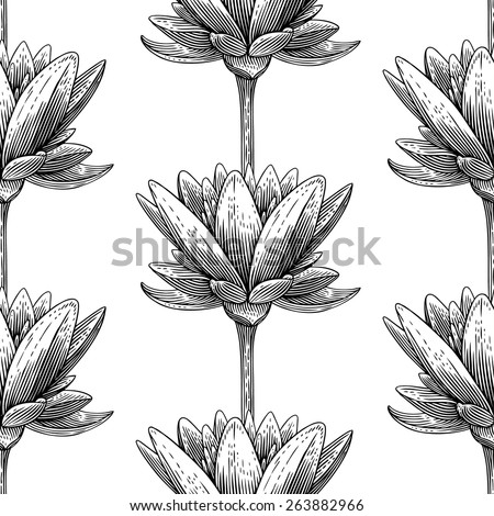 Engraved seamless pattern with lotus  - stock vector
